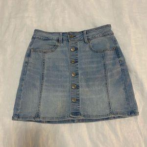 Light wash denim mini skirt from American Eagle.